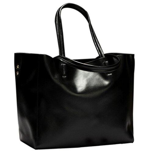Moon Soul Women Simple Style Shopping Bag Handbag Tote Black