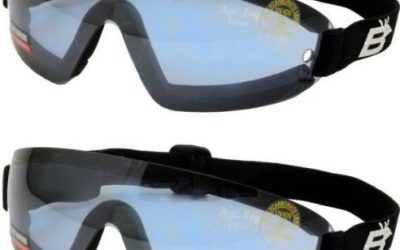 2 Skydive Skydiving Goggles Reduced Glare Blue With Great peripheral vision design Lenses are shatterproof polycarbonate, 100% UV protection, and are ANTI-FOG coated