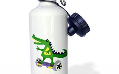 All Smiles Art Sports and Hobbies – Funny Alligator Using Motorized Skateboard – 21 oz Sports Water Bottle (wb_224790_1)