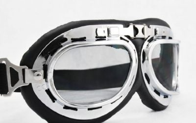 Vintage Style Military WWII RAF Pilot Black Frame Reflective Chrome Color Arced Angle Lens Elastic Strap Padded Frost Free Unisex Men Women UV Protection Goggles For Motorcycle BMX ATV Dirt Bike Biker Helmet Decoration Ice Ski Snowboard Cross Country Skiing