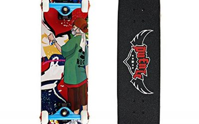 Senmi Adult's Complete Skateboard 31 Inch Graffiti Professional Skateboard Free with Skateboard Bag Multi