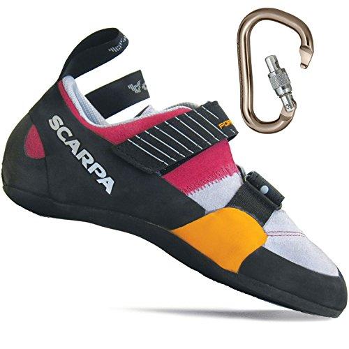 Scarpa Women's Force X Rock Climbing Shoe w/ BD Rocklock Carabiner Lipgloss w/ Carabiner - 38