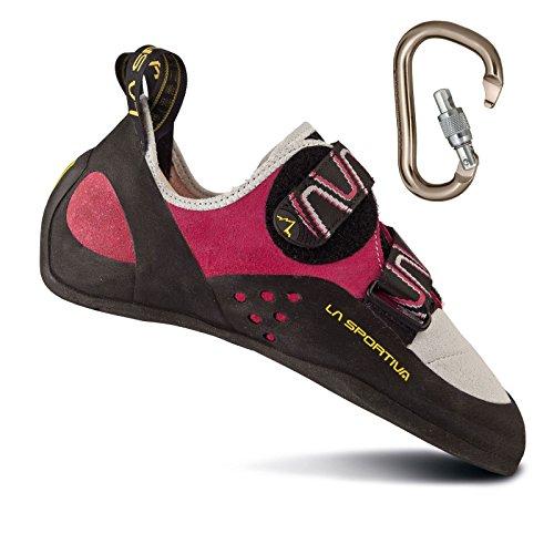 La Sportiva Women's Katana Rock Climbing Shoe Pink/White w/ BD Rocklock Carabiner - 38.5