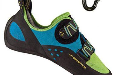 La Sportiva Men's Katana Rock Climbing Shoe Green/Blue w/ BD Rocklock Carabiner – 41.5